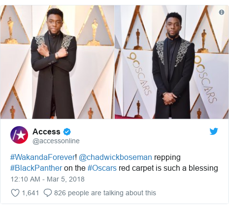 Twitter post by @accessonline: #WakandaForever! @chadwickboseman repping #BlackPanther on the #Oscars red carpet is such a blessing