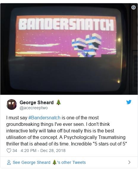 """Twitter post by @acecreeptwo: I must say #Bandersnatch is one of the most groundbreaking things I've ever seen. I don't think interactive telly will take off but really this is the best utilisation of the concept. A Psychologically Traumatising thriller that is ahead of its time. Incredible """"5 stars out of 5"""""""