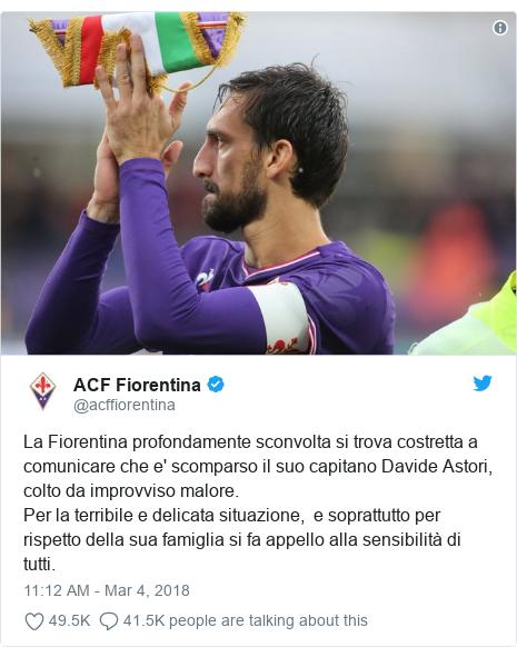 Twitter post by @acffiorentina: La Fiorentina profondamente sconvolta si trova costretta a comunicare che e' scomparso il suo capitano Davide Astori, colto da improvviso malore.Per la terribile e delicata situazione, e soprattutto per rispetto della sua famiglia si fa appello alla sensibilità di tutti.