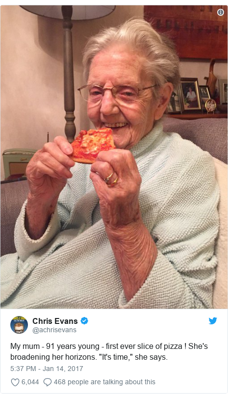 """Twitter post by @achrisevans: My mum - 91 years young - first ever slice of pizza ! She's broadening her horizons. """"It's time,"""" she says."""