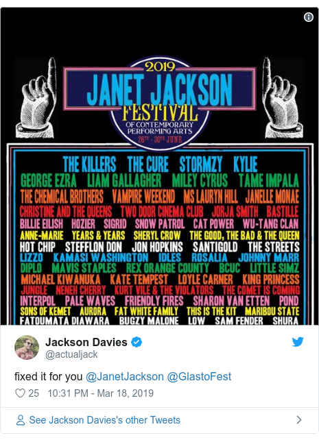 Twitter post by @actualjack: fixed it for you @JanetJackson @GlastoFest
