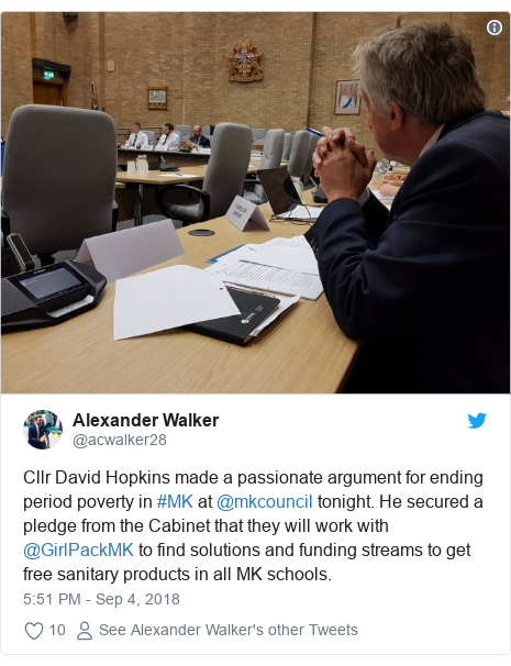 Twitter post by @acwalker28: Cllr David Hopkins made a passionate argument for ending period poverty in #MK at @mkcouncil tonight. He secured a pledge from the Cabinet that they will work with @GirlPackMK to find solutions and funding streams to get free sanitary products in all MK schools.