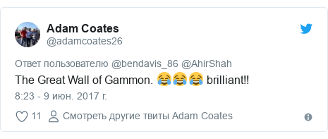Twitter пост, автор: @adamcoates26: The Great Wall of Gammon. 😂😂😂 brilliant!!