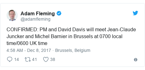 Twitter post by @adamfleming: CONFIRMED  PM and David Davis will meet Jean-Claude Juncker and Michel Barnier in Brussels at 0700 local time/0600 UK time