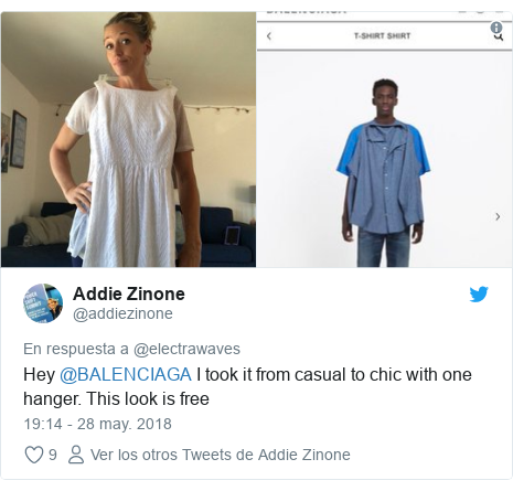 Publicación de Twitter por @addiezinone: Hey @BALENCIAGA I took it from casual to chic with one hanger. This look is free