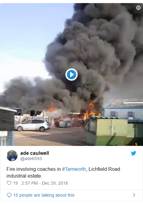Twitter post by @ade6593: Fire involving coaches in #Tamworth, Lichfield Road industrial estate.