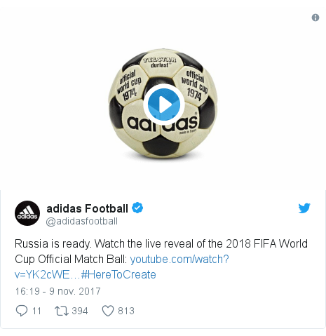 Publicación de Twitter por @adidasfootball: Russia is ready. Watch the live reveal of the 2018 FIFA World Cup Official Match Ball  #HereToCreate