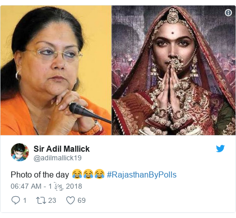 Twitter post by @adilmallick19: Photo of the day 😂😂😂 #RajasthanByPolls