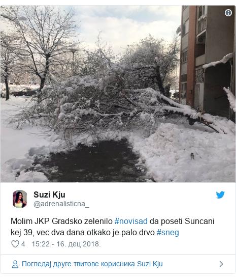 Twitter post by @adrenalisticna_: Molim JKP Gradsko zelenilo #novisad da poseti Suncani kej 39, vec dva dana otkako je palo drvo #sneg