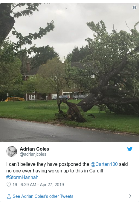 Twitter post by @adrianjcoles: I can't believe they have postponed the @Carten100 said no one ever having woken up to this in Cardiff #StormHannah