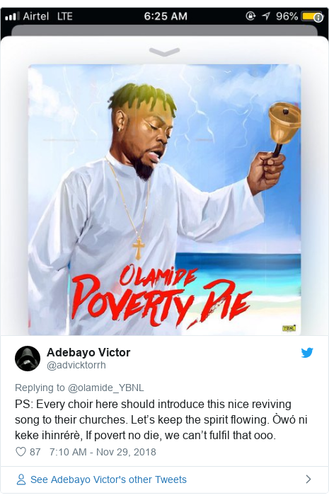 Twitter post by @advicktorrh: PS  Every choir here should introduce this nice reviving song to their churches. Let's keep the spirit flowing. Òwó ni keke ihinrérè, If povert no die, we can't fulfil that ooo.
