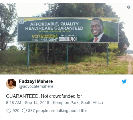 Twitter post by @advocatemahere: GUARANTEED. Not crowdfunded for.