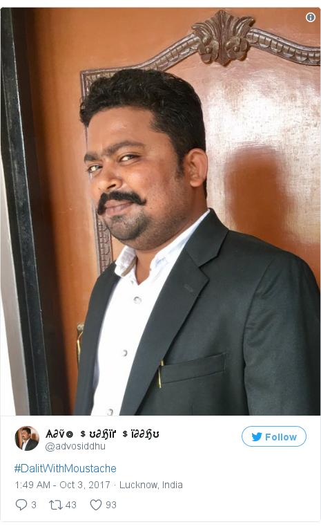 Twitter post by @advosiddhu: #DalitWithMoustache pic.twitter.com/6k0uSxSUIS