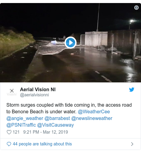 Twitter post by @aerialvisionni: Storm surges coupled with tide coming in, the access road to Benone Beach is under water. @WeatherCee @angie_weather @barrabest @newslineweather @PSNITraffic @VisitCauseway