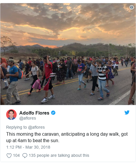 Twitter post by @aflores: This morning the caravan, anticipating a long day walk, got up at 4am to beat the sun.