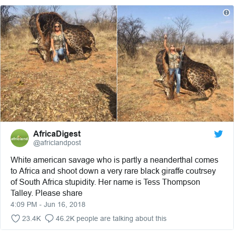 Twitter post by @africlandpost: White american savage who is partly a neanderthal comes to Africa and shoot down a very rare black giraffe coutrsey of South Africa stupidity. Her name is Tess Thompson Talley. Please share