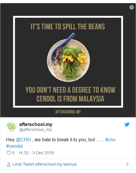 Twitter pesan oleh @afterschool_my: Hey @CNN , we hate to break it to you, but ....... #cnn #cendol