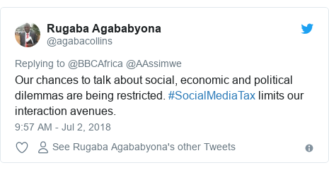 Twitter post by @agabacollins: Our chances to talk about social, economic and political dilemmas are being restricted. #SocialMediaTax limits our interaction avenues.