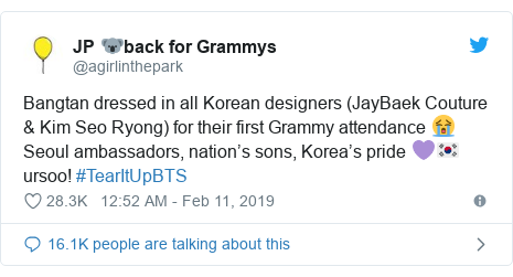 Twitter post by @agirlinthepark: Bangtan dressed in all Korean designers (JayBaek Couture & Kim Seo Ryong) for their first Grammy attendance 😭Seoul ambassadors, nation's sons, Korea's pride 💜🇰🇷 ursoo! #TearItUpBTS
