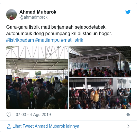 Twitter pesan oleh @ahmadmbrck: Gara-gara listrik mati berjamaah sejabodetabek, autonumpuk dong penumpang krl di stasiun bogor. #listrikpadam #matilampu #matilistrik