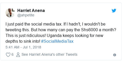 Ujumbe wa Twitter wa @ahpetite: I just paid the social media tax. If l hadn't, l wouldn't be tweeting this. But how many can pay the Shs6000 a month? This is just ridiculous! Uganda keeps looking for new depths to sink into! #SocialMediaTax
