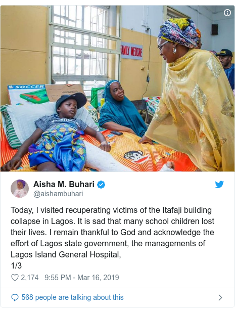 Twitter post by @aishambuhari: Today, I visited recuperating victims of the Itafaji building collapse in Lagos. It is sad that many school children lost their lives. I remain thankful to God and acknowledge the effort of Lagos state government, the managements of Lagos Island General Hospital, 1/3