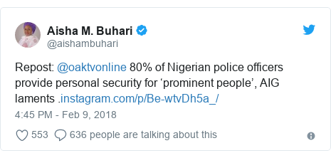 Twitter post by @aishambuhari: Repost  @oaktvonline 80% of Nigerian police officers provide personal security for 'prominent people', AIG laments .
