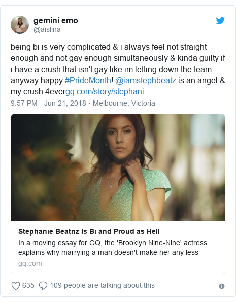 Twitter post by @aislina: being bi is very complicated & i always feel not straight enough and not gay enough simultaneously & kinda guilty if i have a crush that isn't gay like im letting down the team anyway happy #PrideMonth! @iamstephbeatz is an angel & my crush 4ever