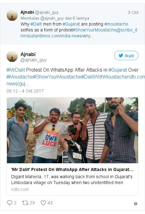 Twitter pesan oleh @ajnabi_guy: #MrDalit Protest On WhatsApp After Attacks in #Gujarat Over #Moustache#ShowYourMoustache#DalitWithMoustachehttps //t.co/7PsGvXe0eR