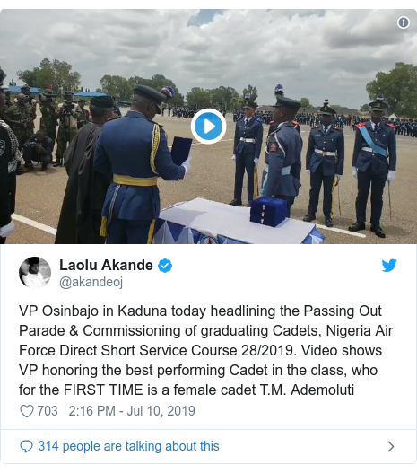 Twitter post by @akandeoj: VP Osinbajo in Kaduna today headlining the Passing Out Parade & Commissioning of graduating Cadets, Nigeria Air Force Direct Short Service Course 28/2019. Video shows VP honoring the best performing Cadet in the class, who for the FIRST TIME is a female cadet T.M. Ademoluti