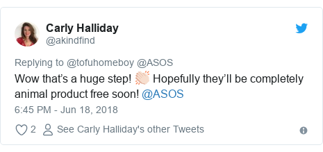 Twitter post by @akindfind: Wow that's a huge step! 👏🏻 Hopefully they'll be completely animal product free soon! @ASOS