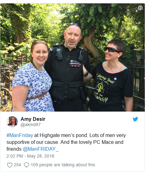 Twitter post by @akmd87: #ManFriday at Highgate men's pond. Lots of men very supportive of our cause. And the lovely PC Mace and friends @ManFRIDAY_