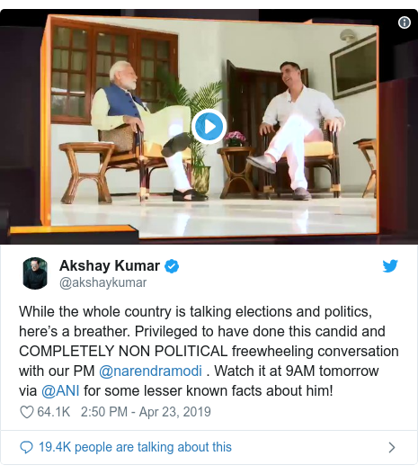 Twitter post by @akshaykumar: While the whole country is talking elections and politics, here's a breather. Privileged to have done this candid and COMPLETELY NON POLITICAL freewheeling conversation with our PM @narendramodi . Watch it at 9AM tomorrow via @ANI for some lesser known facts about him!