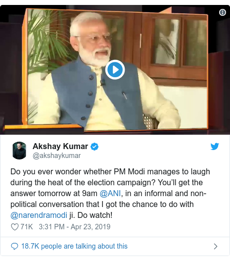 Twitter post by @akshaykumar: Do you ever wonder whether PM Modi manages to laugh during the heat of the election campaign? You'll get the answer tomorrow at 9am @ANI, in an informal and non-political conversation that I got the chance to do with @narendramodi ji. Do watch!