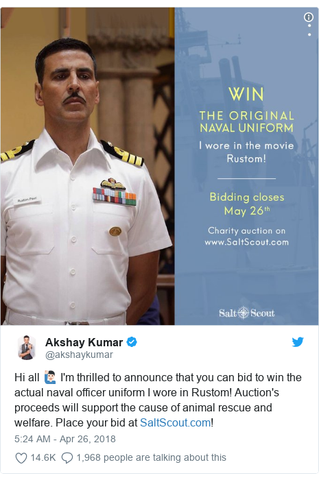Twitter wallafa daga @akshaykumar: Hi all 🙋🏻♂️ I'm thrilled to announce that you can bid to win the actual naval officer uniform I wore in Rustom! Auction's proceeds will support the cause of animal rescue and welfare. Place your bid at !