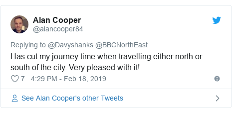 Twitter post by @alancooper84: Has cut my journey time when travelling either north or south of the city. Very pleased with it!