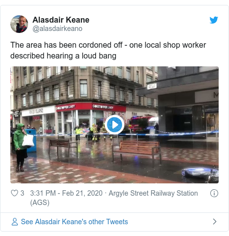 Twitter post by @alasdairkeano: The area has been cordoned off - one local shop worker described hearing a loud bang