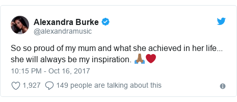 Twitter post by @alexandramusic: So so proud of my mum and what she achieved in her life... she will always be my inspiration. 🙏🏾❤️