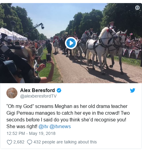 """Twitter post by @alexberesfordTV: """"Oh my God"""" screams Meghan as her old drama teacher Gigi Perreau manages to catch her eye in the crowd! Two seconds before I said do you think she'd recognise you! She was right! @itv @itvnews"""