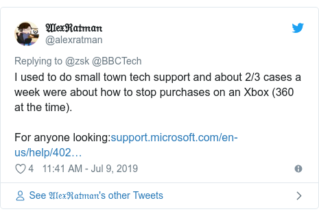 Twitter post by @alexratman: I used to do small town tech support and about 2/3 cases a week were about how to stop purchases on an Xbox (360 at the time). For anyone looking