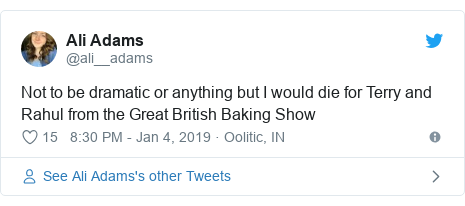 Twitter post by @ali__adams: Not to be dramatic or anything but I would die for Terry and Rahul from the Great British Baking Show