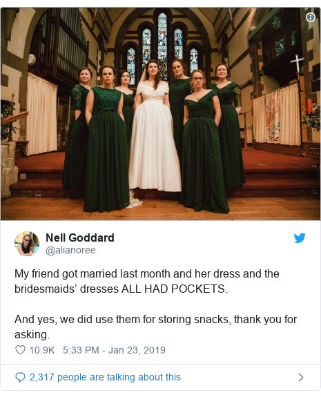 Twitter post by @alianoree: My friend got married last month and her dress and the bridesmaids' dresses ALL HAD POCKETS.And yes, we did use them for storing snacks, thank you for asking.