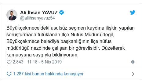 @aliihsanyavuz54 tarafından yapılan Twitter paylaşımı: Büyükçekmece'deki usulsüz seçmen kaydına ilişkin yapılan soruşturmada tutuklanan İlçe Nüfus Müdürü değil, Büyükçekmece belediye başkanlığının ilçe nüfus müdürlüğü nezdinde çalışan bir görevlisidir. Düzelterek kamuoyuna saygıyla bildiriyorum.