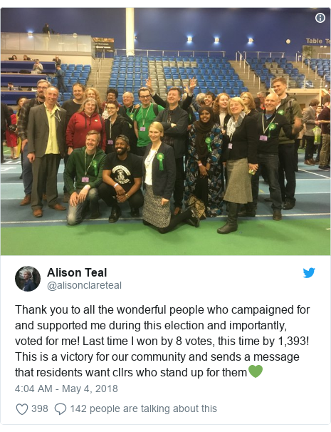 Twitter post by @alisonclareteal: Thank you to all the wonderful people who campaigned for and supported me during this election and importantly, voted for me! Last time I won by 8 votes, this time by 1,393! This is a victory for our community and sends a message that residents want cllrs who stand up for them💚