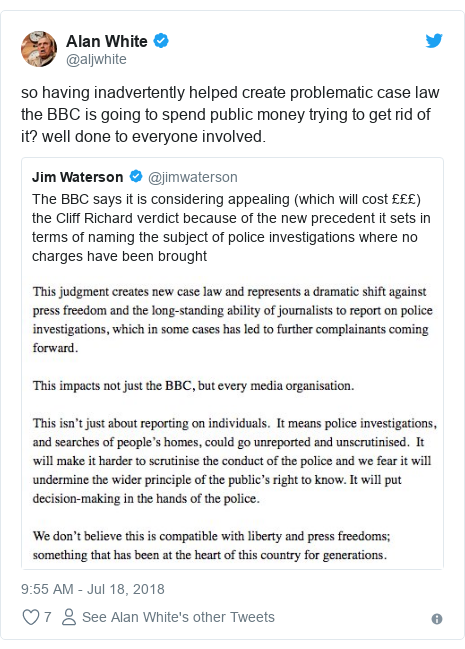 Twitter post by @aljwhite: so having inadvertently helped create problematic case law the BBC is going to spend public money trying to get rid of it? well done to everyone involved.