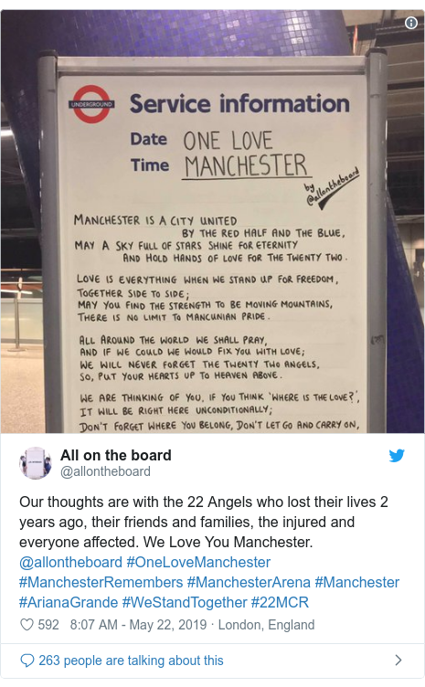 Twitter post by @allontheboard: Our thoughts are with the 22 Angels who lost their lives 2 years ago, their friends and families, the injured and everyone affected. We Love You Manchester. @allontheboard #OneLoveManchester #ManchesterRemembers #ManchesterArena #Manchester #ArianaGrande #WeStandTogether #22MCR