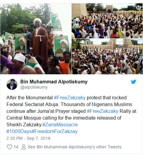 Twitter post by @alpotiskumy: After the Monumental #FreeZakzaky protest that rocked Federal Sectariat Abuja. Thousands of Nigerians Muslims continue after Juma'at Prayer staged #FreeZakzaky Rally at Central Mosque calling for the immediate released of Sheikh Zakzaky.#ZariaMassacre #1000Days#FreedomForZakzay