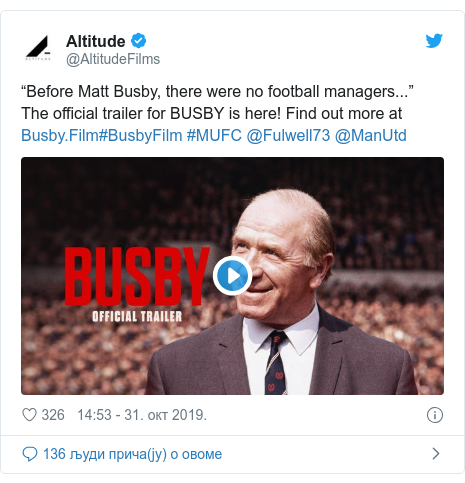 """Twitter post by @AltitudeFilms: """"Before Matt Busby, there were no football managers...""""The official trailer for BUSBY is here! Find out more at #BusbyFilm #MUFC @Fulwell73 @ManUtd"""