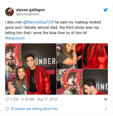 Twitter post by @alyssajaneee: i also met @MannyMua733! he said my makeup looked good and i literally almost died. the third photo was me telling him that i wore the blue liner bc of him lol #beautycon
