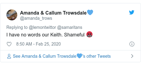 Twitter post by @amanda_trows: I have no words our Keith. Shameful 🤬